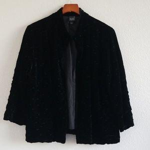 {Eileen Fisher} Black Velvet Open Kimono Jacket